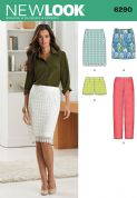 6290 New Look Pattern: Misses' Shorts, Skirt in Two Lengths and Slim Trousers